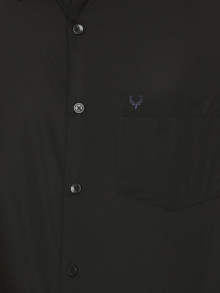 black solid casual shirt - 16107343 - Standard Image - 4