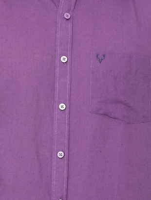 purple solid casual shirt - 16107461 - Standard Image - 4