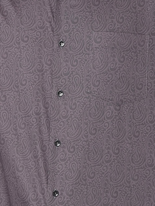 grey paisley printed formal shirt - 16107694 - Standard Image - 4
