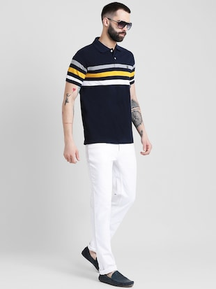 navy blue striped polo t-shirt - 16109682 - Standard Image - 4