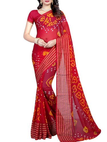Bandhani tie & dye saree with blouse - 16110201 - Standard Image - 1