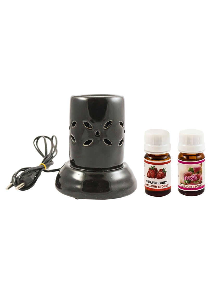 Ceramic Aroma Electric Diffuser Multicolour Oil Burner With Strawberry And  Rose Fragrance Oil Decorative Lamp Pack Of 3