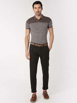 brown solid chinos  - 16128980 - Standard Image - 4