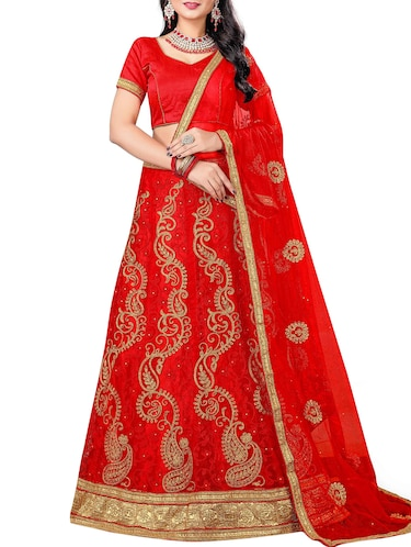 red paisley embroidered a-line lehenga - 16132303 - Standard Image - 1