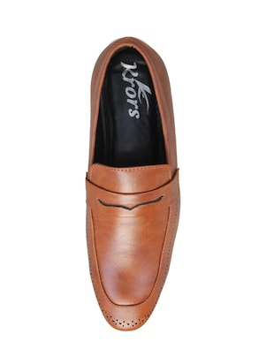 brown leatherette slipons - 16158018 - Standard Image - 4
