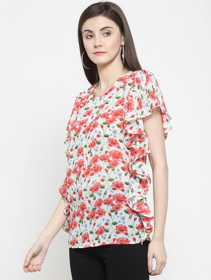 flutter sleeved floral top