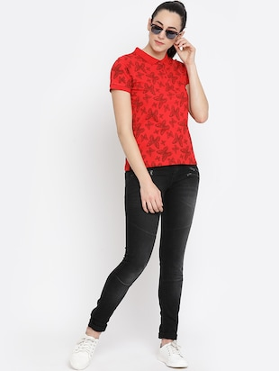 polo neck butterfly printed top - 16158976 - Standard Image - 4