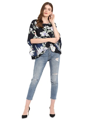 flared sleeved floral asymmetric top - 16159193 - Standard Image - 4