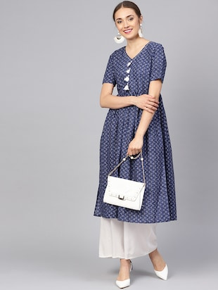 Printed flared kurta with tassels - 16165631 - Standard Image - 4