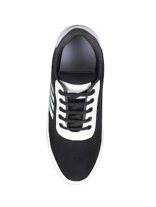 black fabric lace up sneakers - 16174303 - Standard Image - 4