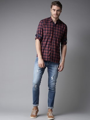 red checkered casual shirt - 16184267 - Standard Image - 4