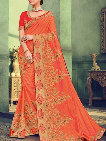 7b73c0af356ac5 Buy Orange Net Embroidered Saree With Blouse for Women from Designer ...