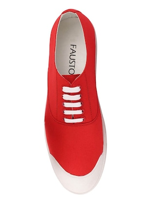 red canvas lace up sneakers - 16187850 - Standard Image - 4
