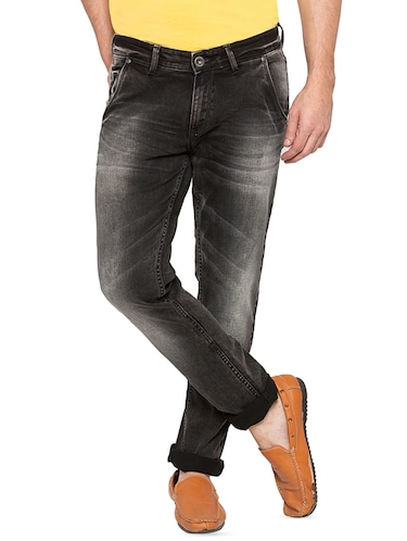 black heavy washed jeans - 16197867 - Standard Image - 1