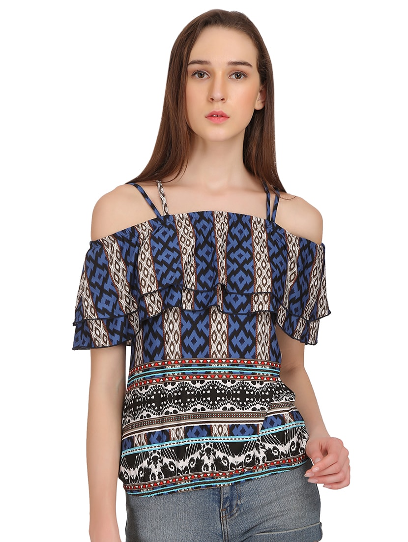 01df11d8c53e70 Buy Off Shoulder Printed Top for Women from Madame for ₹974 at 25% off