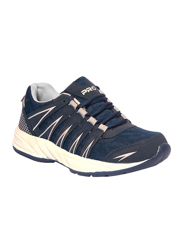navy blue mesh lace up sport shoes - 16203689 - Standard Image - 1