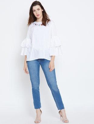 bell sleeved embroidered top - 16208499 - Standard Image - 4