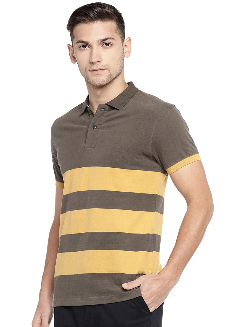 934f19ae8 Buy Olive Green Striped Polo T-shirt for Men from Globus for ₹550 at 31% off  | 2019 Limeroad.com