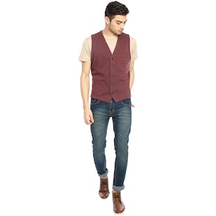 red solid waist coat - 16217862 - Standard Image - 4