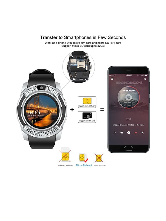 XANAX Round Dial Smart Watch With Camera, Sim Card & Memory Slot - XNV8SW