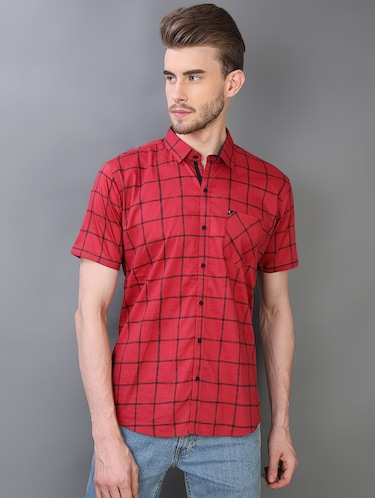 red checkered casual shirt - 16219172 - Standard Image - 1