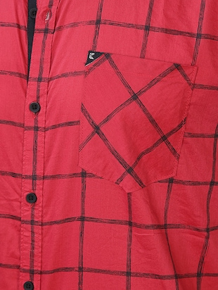 red checkered casual shirt - 16219172 - Standard Image - 4
