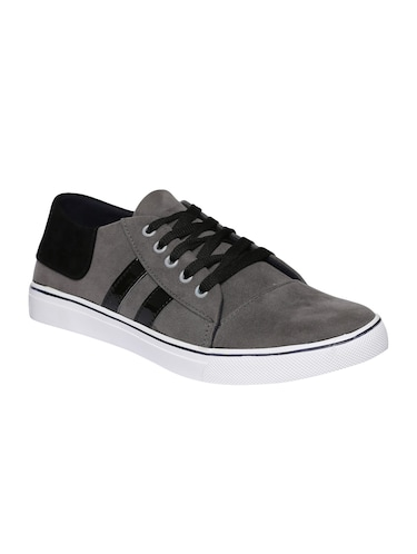 grey velvet lace up sneakers - 16224356 - Standard Image - 1