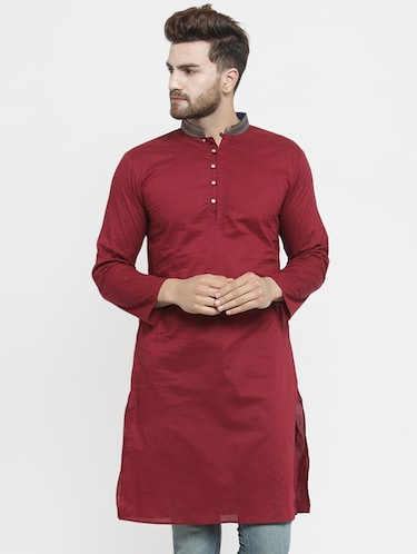 red solid long kurta - 16226449 - Standard Image - 1
