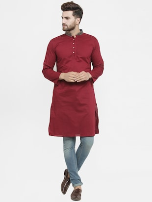 red solid long kurta - 16226449 - Standard Image - 4