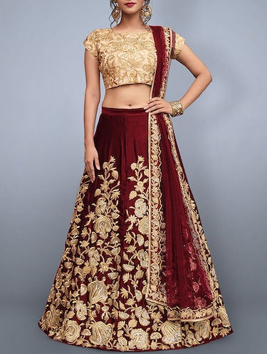 floral embroidered a-line lehenga - 16226886 - Standard Image - 1