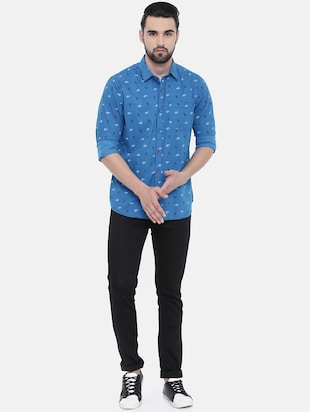 blue printed casual shirt - 16229049 - Standard Image - 4