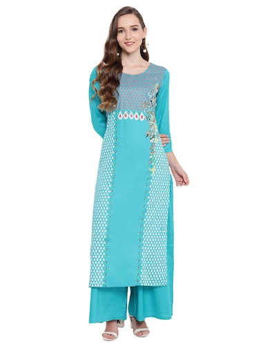 Block printed kurta with palazzo set - 16242351 - Standard Image - 1