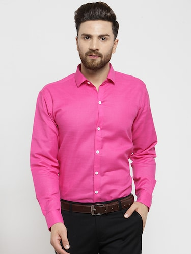 pink solid casual shirt - 16244032 - Standard Image - 1