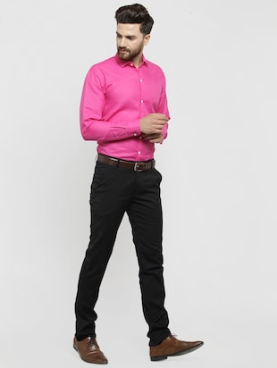 pink solid casual shirt - 16244032 - Standard Image - 4