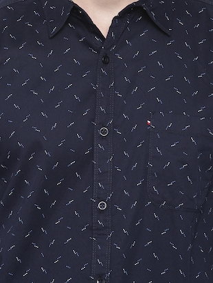 navy blue printed casual shirt - 16245488 - Standard Image - 4