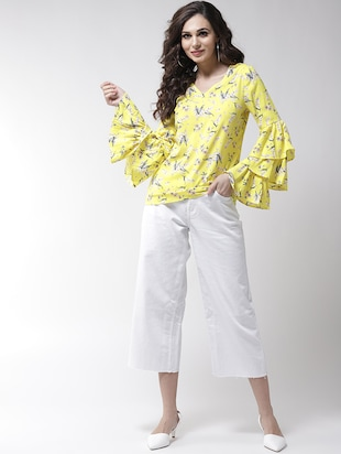 layered bell sleeved floral top - 16258317 - Standard Image - 4