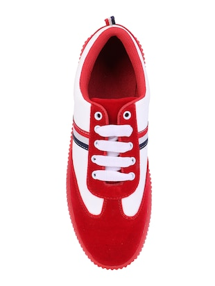 red suede lace up sneakers - 16260757 - Standard Image - 4