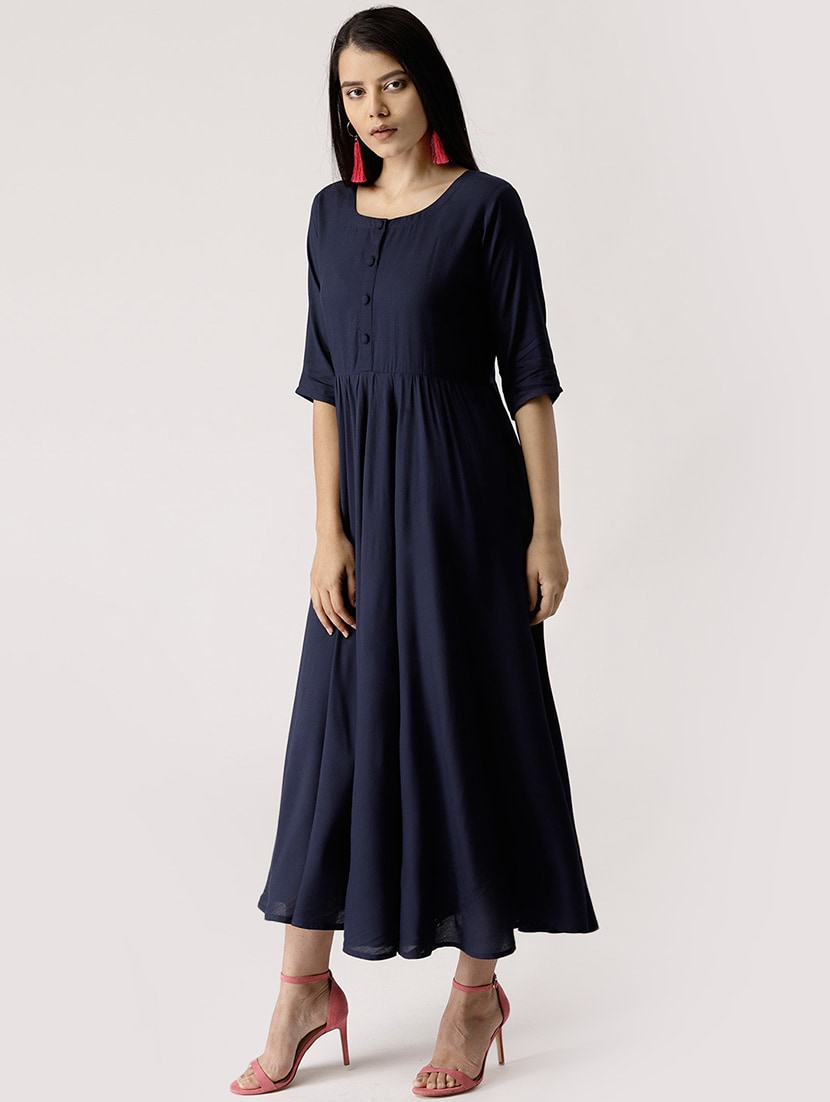 508b8ca26 Buy Button Detail Gathered Maxi Dress for Women from Libas for ₹999 at 50%  off