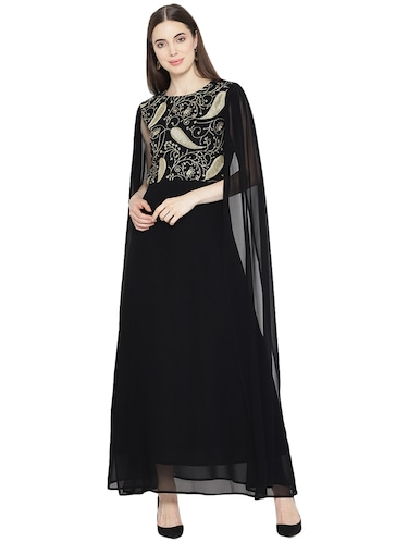 cape detail embroidered gown - 16262070 - Standard Image - 1