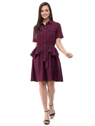 Ruffle detail a line dress - 16263162 - Standard Image - 4