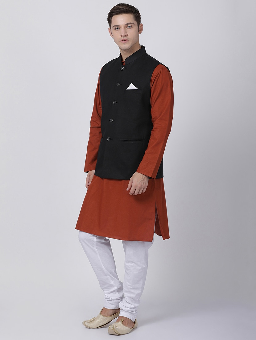 3f3173f15 Buy Red Cotton Kurta Pyjama Set With Nehru Jacket for Men from Tabard for  ₹2799 at 60% off