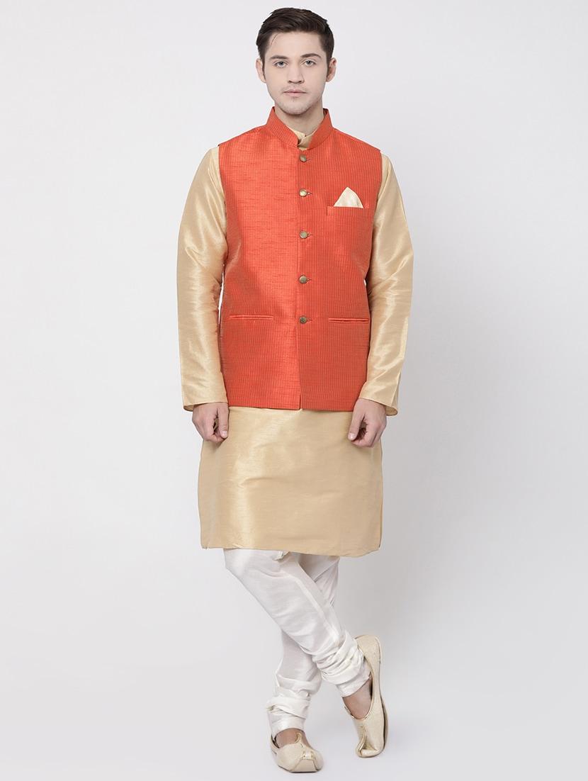 d04f1808c Buy Orange Silk Blend Kurta Pyjama Set With Nehru Jacket for Men from  Tabard for ₹2599 at 60% off