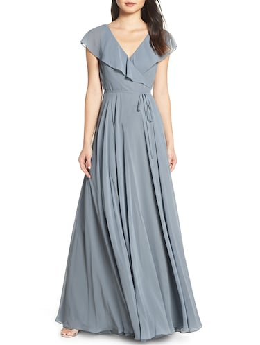 Tie knot wrap flare dress - 16265600 - Standard Image - 1