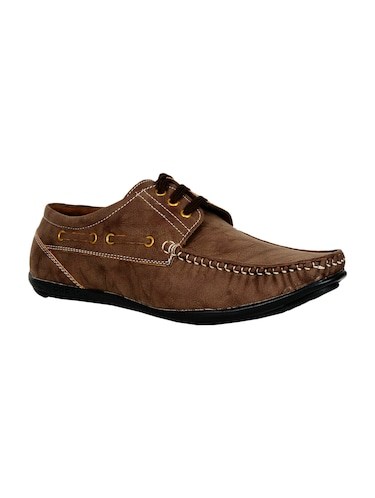 brown leatherette lace up boatshoes - 16265666 - Standard Image - 1