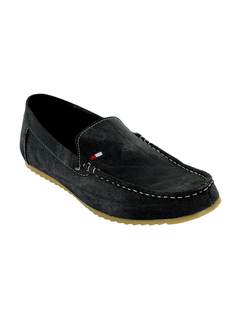 Buy online Black Canvas Slip On Loafers