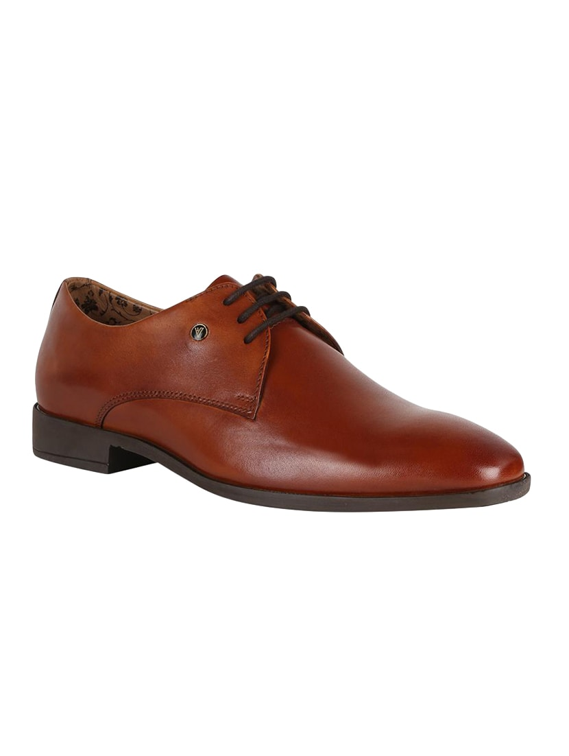 72c832542df1 Buy Brown Leather Lace-up Derbys for Men from Van Heusen for ₹2414 at 31%  off | 2019 Limeroad.com