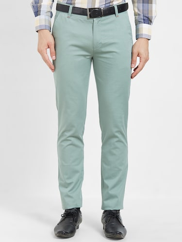 green flat front casual trouser - 16270659 - Standard Image - 1
