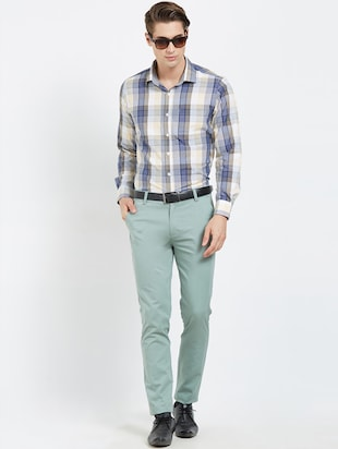 green flat front casual trouser - 16270659 - Standard Image - 4