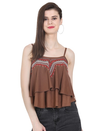 Embroidered layered crop top - 16272225 - Standard Image - 1