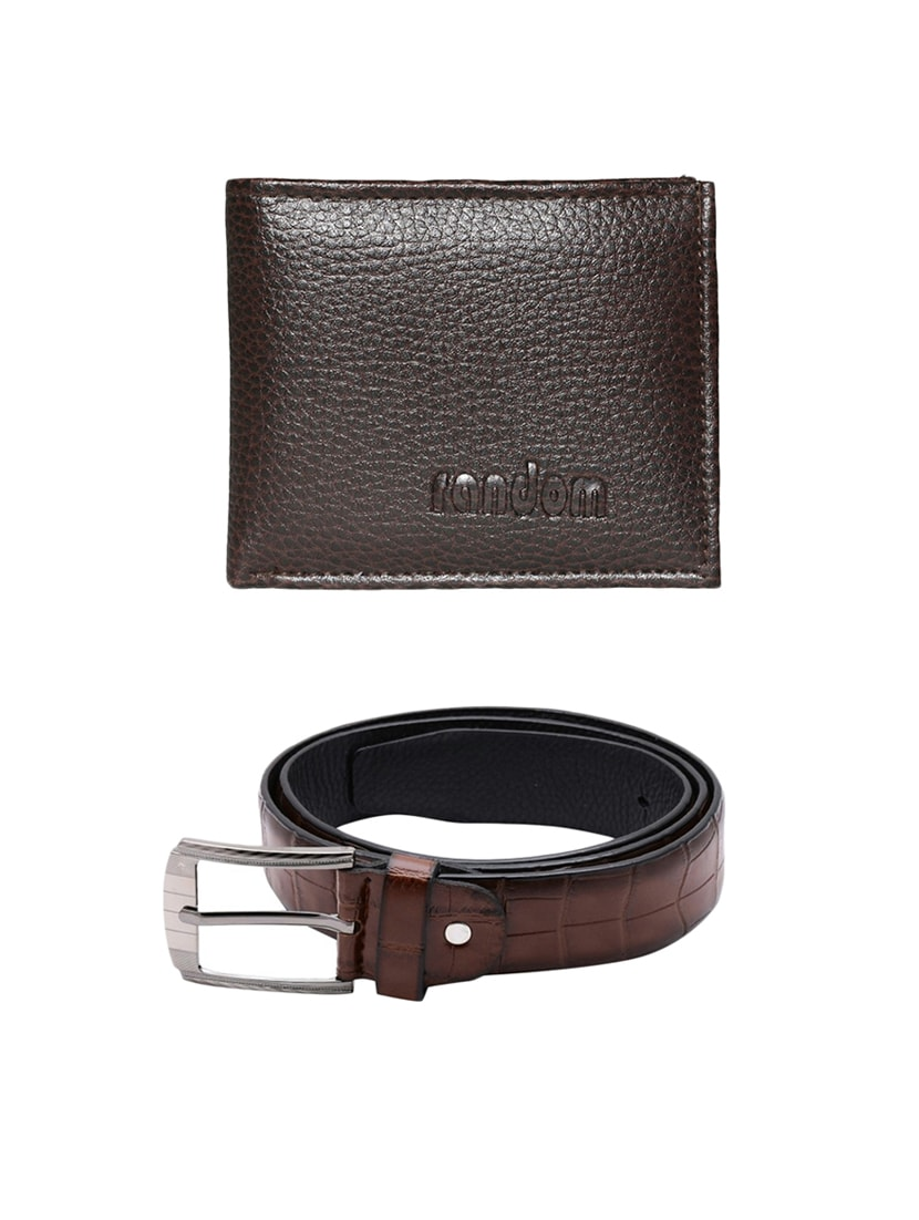 brown leatherette belt with wallet